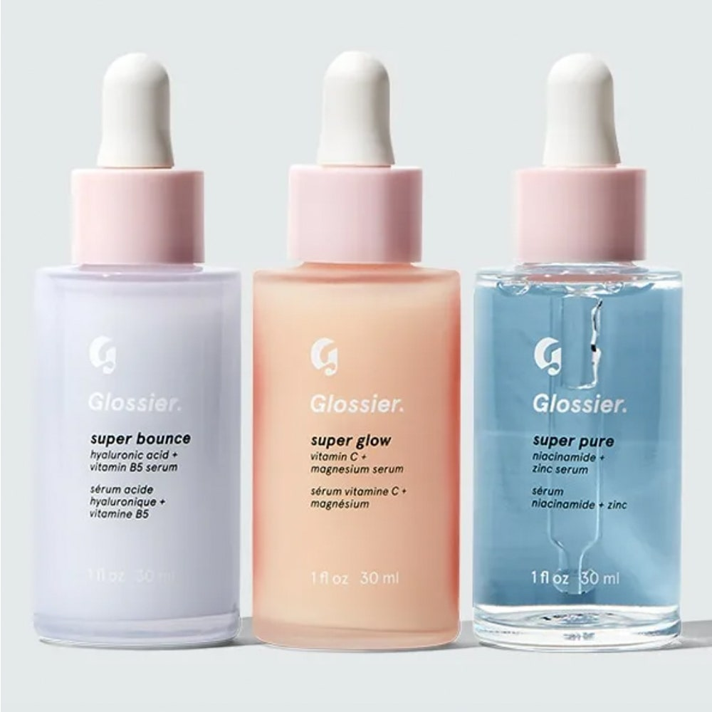 Glossier The Super Pack on gray background