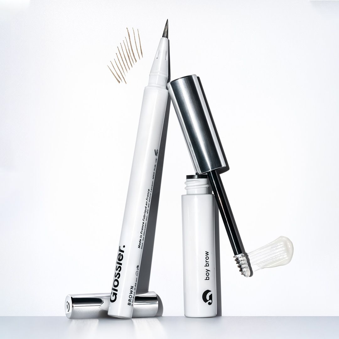 Glossier Boy Brow + Brow Flick Duo on white background