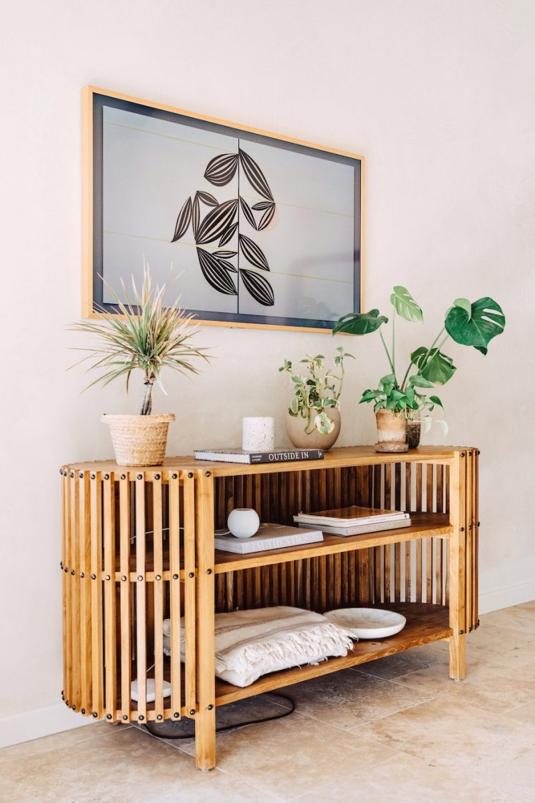 Camille Styles television console table in bedroom at home